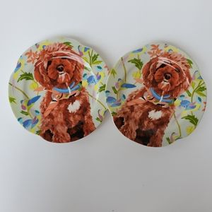 2 Anthropologie Doodle Snacks in a Scarf Plate